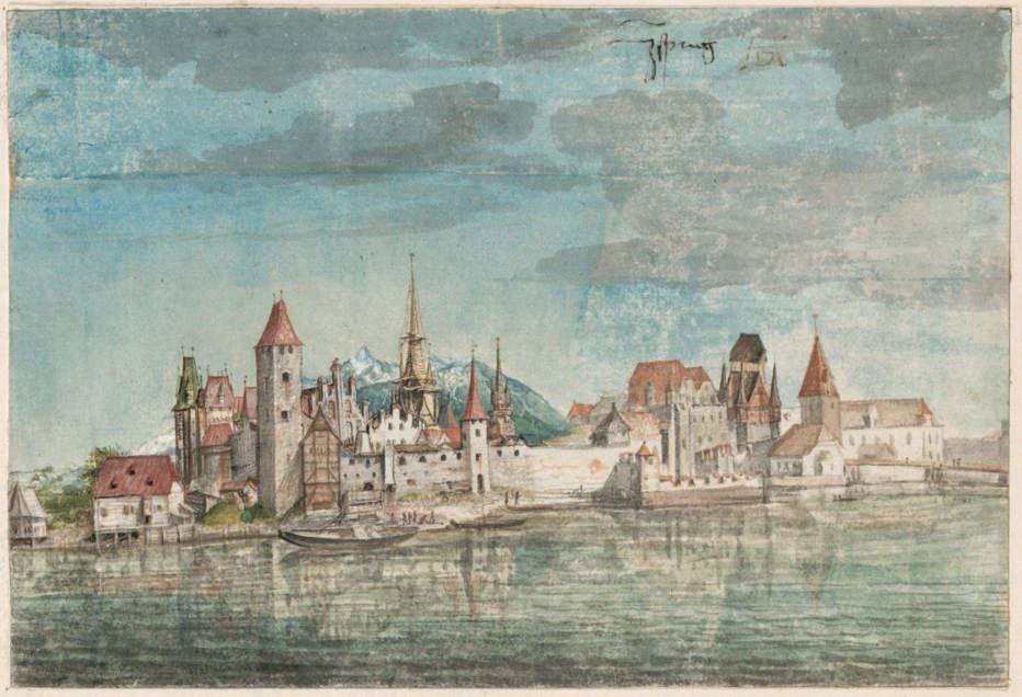 Albrecht Dürer, Innsbruck von Norden, um 1496 (Albertina, Wien)