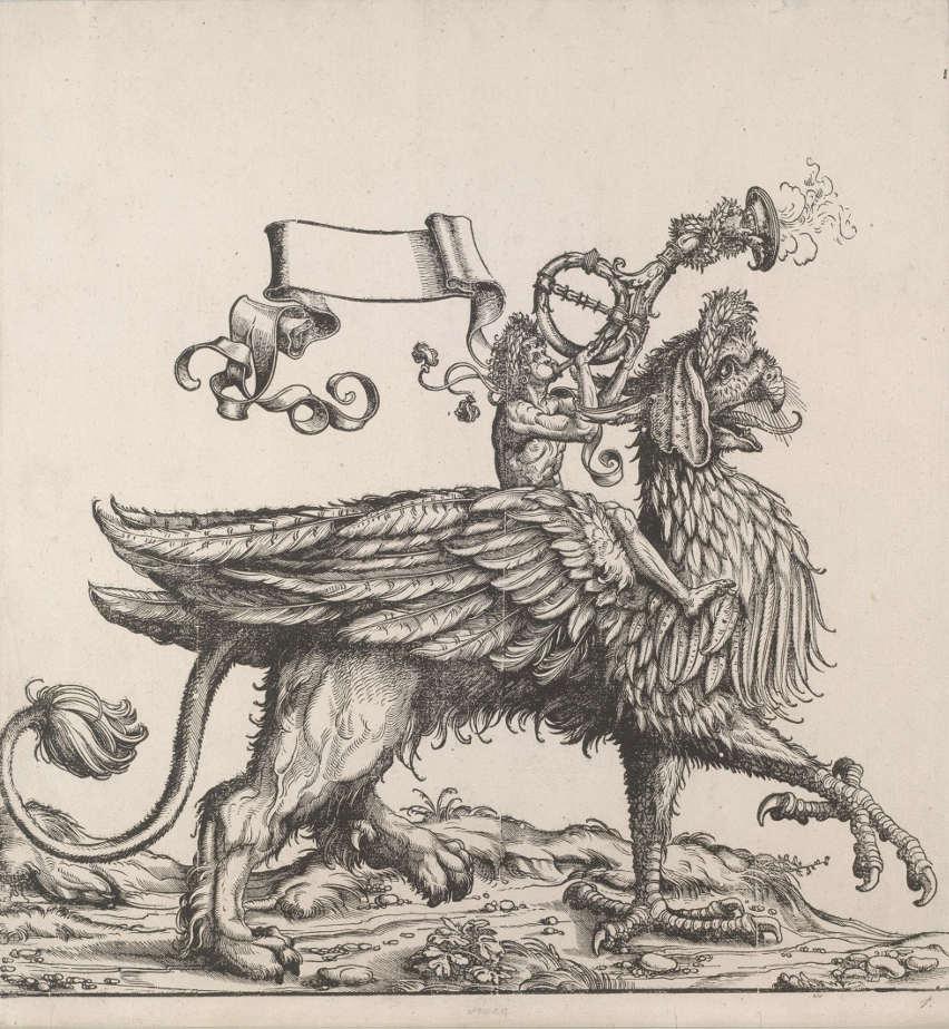 Hans Burgkmair d. Ä., Der Verkünder des Triumphes aus dem Triumphzug Kaiser Maximilians I., 1516-18 (3. Ausg. 1796) (Albertina, Wien).