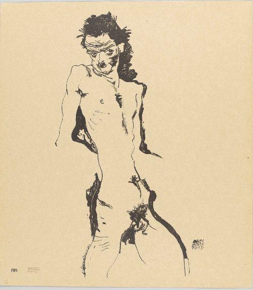 Egon Schiele, Akt, 1912, aus der Sema-Mappe, Lithographie, Blatt: 45 x 40 cm, Staatsgalerie Stuttgart, Graphische Sammlung.