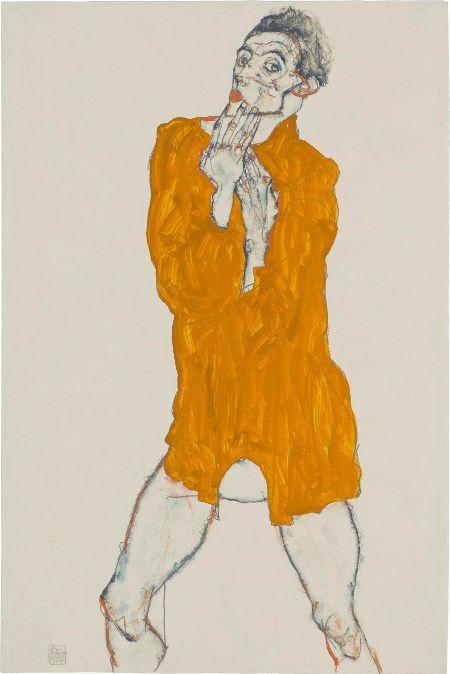 Egon Schiele, Selbstbildnis, 1914, Bleistift, Gouache in Orange, Grün, Blau, Rot, Schwarz, Blatt: 48,5 x 32 cm, Staatsgalerie Stuttgart, Graphische Sammlung.