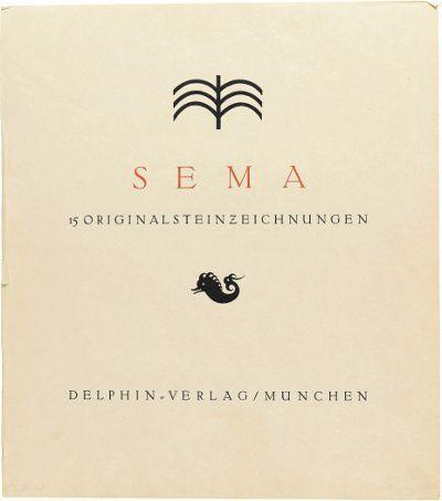 Sema-Mappe, Titelblatt, 1912, Lithographie, Delphin-Verlag München, Blatt: 45 x 40 cm, Staatsgalerie Stuttgart, Graphische Sammlung,