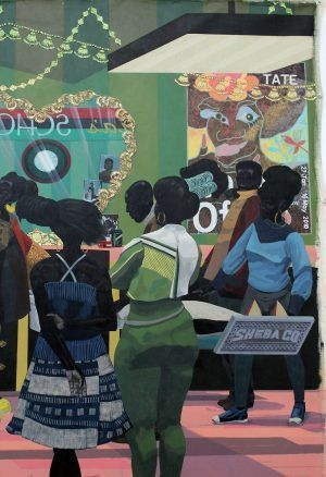 Kerry James Marshall, School of Beauty, School of Culture (Chris Ofili), 2012, Acryl auf Leinwand, 274 x 401 cm (Collection of the Birmingham Museum of Art, Alabama), Detail, Foto: Alexandra Matzner.