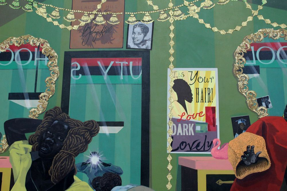 Kerry James Marshall, School of Beauty, School of Culture (Porträt seiner Ehefrau), 2012, Acryl auf Leinwand, 274 x 401 cm (Collection of the Birmingham Museum of Art, Alabama), Detail, Foto: Alexandra Matzner.
