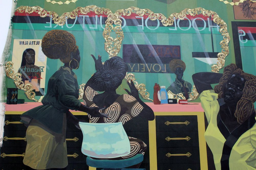 Kerry James Marshall, School of Beauty, School of Culture (School of Culture), 2012, Acryl auf Leinwand, 274 x 401 cm (Collection of the Birmingham Museum of Art, Alabama), Detail, Foto: Alexandra Matzner.