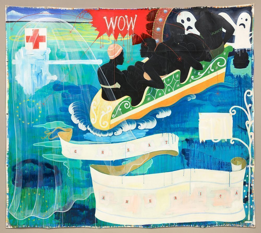 Kerry James Marshall, Great America, 1994, acrylic and collage on canvas, National Gallery of Art, Washington, Gift of the Collectors Committee, 2011.