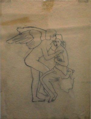 Kiki Kogelnik, Amor und Psyche, um 1986, Bleistift auf Pauspapier, 30 x 23 cm © Kiki Kogelnik Foundation Vienna/New York, Foto: Alexandra Matzner.