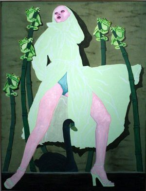 Kiki Kogelnik, Leda mit Schwan, 1978, Öl und Acryl auf Leinwand, 211 x 161 cm © Kiki Kogelnik Foundation Vienna/New York, Foto: Alexandra Matzner.