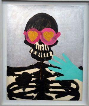 Kiki Kogelnik, Untiteled (Sceleton with glasses), ca. 1963, 51 x 41 cm, Aryl auf Karton mit Leinwandstruktur © Kiki Kogelnik Foundation Vienna/New York, Foto: Alexandra Matzner.