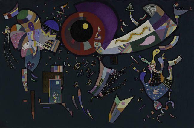 Wassily Kandinsky, Autour du cercle, 1940, Mischtechnik auf Leinwand, 96,8 x 146 cm, Solomon R. Guggenheim Museum, New York, Solomon R. Guggenheim Founding Collection.
