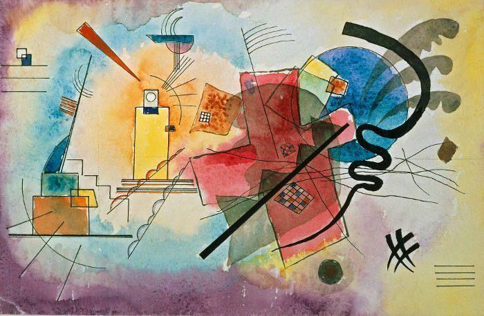 Wassily Kandinsky, Entwurf zu ›Gelb – Rot – Blau‹, 1925, Aquarell, Tusche und Bleistift auf Papier, Privatbesitz.
