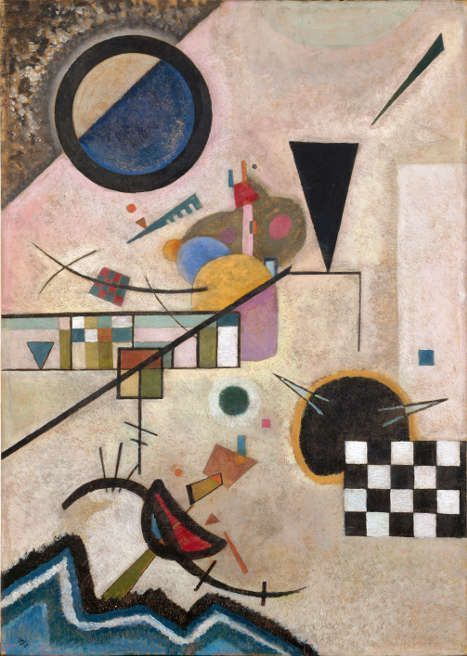 Wassily Kandinsky, Gegenklänge, 1924, Contrasting Sounds, Öl auf Karton, 70 x 49.5 cm, Centre Pompidou, Paris, Musée national d'art moderne / Centre de création industrielle, bequest of Nina Kandinsky in 1981.