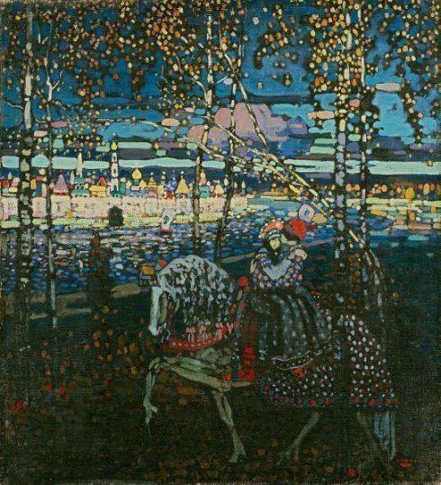 Wassily Kandinsky, Reitendes Paar, 1906/07, Öl auf Leinwand, 55 x 50,5 cm, Städtische Galerie im Lenbachhaus und Kunstbau, München.