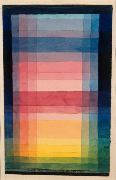 Paul Klee, Architektur der Ebene, 1923, 113, Aquarell und Bleistift auf Papier auf Karton, 28 x 17,3/18,1 cm, Staatliche Museen zu Berlin, Nationalgalerie, Museum Berggruen.