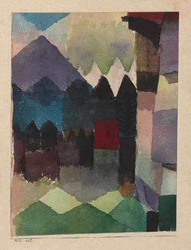 Paul Klee, Föhn im Marc'schen Garten, 1915, 102, Aquarell auf Papier auf Karton, 20 x 15 cm, Städtische Galerie im Lenbachhaus und Kunstbau, München.