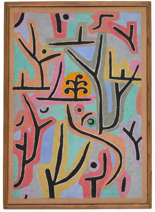 Paul Klee, Park bei Lu., 1938, 129, Öl und Kleisterfarbe auf Papier auf Jute, originale Rahmenleisten, Zentrum Paul Klee, Bern.