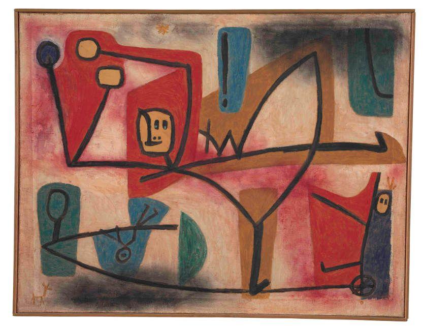 Paul Klee, Uebermut, 1939, 1251, Öl- und Kleisterfarbe auf Papier auf Jute; originale Rahmenleiste, 101 x 130 cm, Zentrum Paul Klee, Bern.