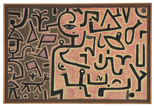 Paul Klee, Vorhaben, 1938, 126, Kleisterfarbe auf Papier auf Jute; originale Rahmenleisten, 75,5 x 112,3 cm, Zentrum Paul Klee, Bern.