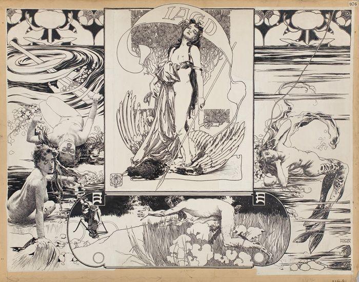 Koloman Moser, Jagd, für Gerlachs Mappenwerk, um 1895-96.