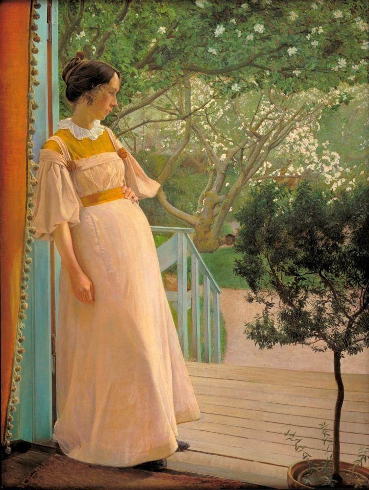 L.A. Ring (1854–1933), An den französischen Fenstern, die Frau des Künstlers, 1897, Öl auf Leinwand, 191 x 144 cm © SMK Foto