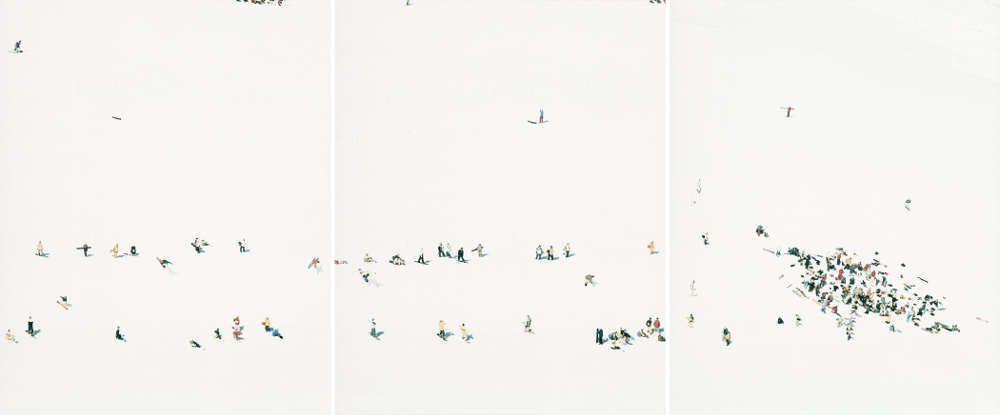 Walter Niedermayr, Mittel Allalin IV, 2000, C-Print, 3-tlg., je 132,2 x 104,2 cm, Auflage: 6/6, Courtesy Galerie Meyer Kainer, Wien © Walter Niedermayr, Foto: Walter Niedermayr.
