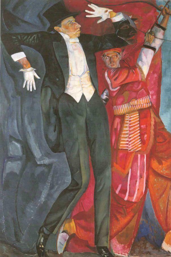 Boris Grigorjew, Porträt von Wsewolod Meyerhold, 1916, Öl auf Leinwand (St. Petersburg, Staatliches Russisches Museum), Installationsansicht Albertina 2016, Foto: Alexandra Matzner.
