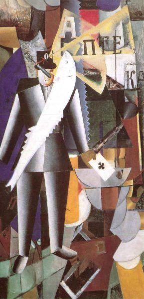 Kasimir Malewitsch, Aviator, 1914, Öl auf Leinwand, 125 x 65 cm (Sankt Petersburg, Staatliches Russisches Museum).