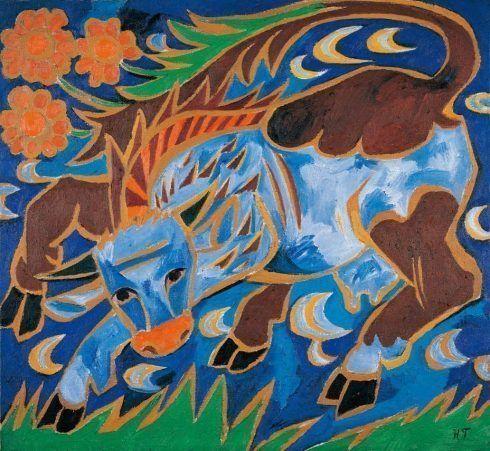 Natalia Gontscharowa, Die blaue Kuh (aus dem Gemäldezyklus Weinlese), 1911, Öl auf Leinwand, 91,5 x 93 cm, Wien, Albertina – Sammlung Batliner.