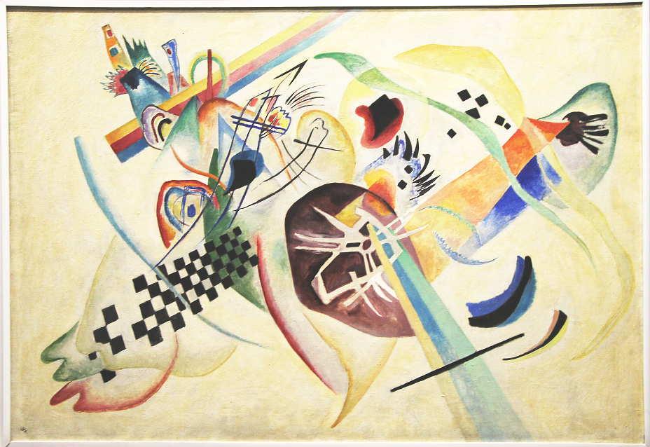 Wassily Kandinsky, Auf Weiß I, 1920, Öl auf Leinwand, 95 x 138 cm (Sankt Petersburg, Staatliches Russisches Museum), Foto: Alexandra Matzner.