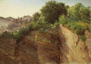 Friedrich Loos, Blick vom Mönchsberg auf die Festung Hohensalzburg, 1826–1835, Öl auf Karton, 30 × 40,5 cm (Belvedere, Wien, Inv.-Nr. 3181)