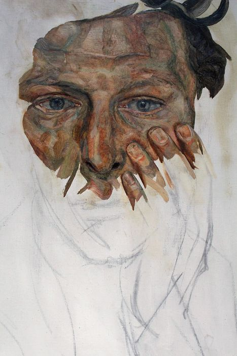 Lucian Freud, Self-Portrait, Detail, um 1956, Privatsammlung, Foto: Alexandra Matzner © The Lucian Freud Archive / The Bridgeman Art Library.