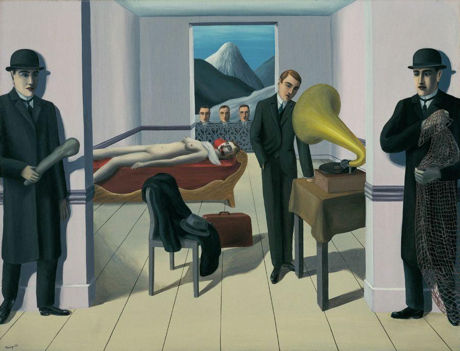 René Magritte, Der bedrohte Mörder, 1927, Öl auf Leinwand, New York, The Museum of Modern Art© Charly HERSCOVICI Brüssel - 2011.