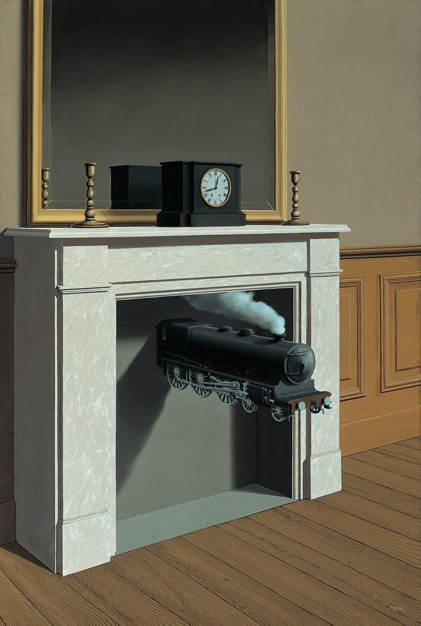 René Magritte, Die durchbohrte Zeit, 1938, Öl auf Leinwand, The Art Institute of Chicago © Charly HERSCOVICI Brüssel - 2011.