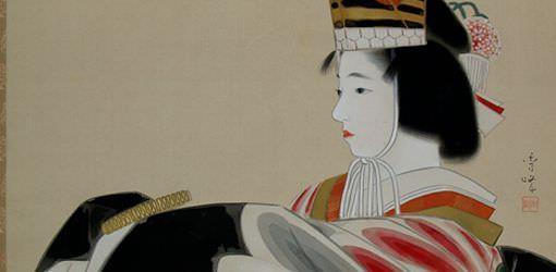Ausschnitt aus einem Rollbild von Ya Makawa Shuhō (Kyoto 1898–1944 Kyoto), Feierlicher Tanz eines Mädchens (Hinazuru Sanbasō) (Sammlung Genzō Hattori), Foto: Alexandra Matzner.