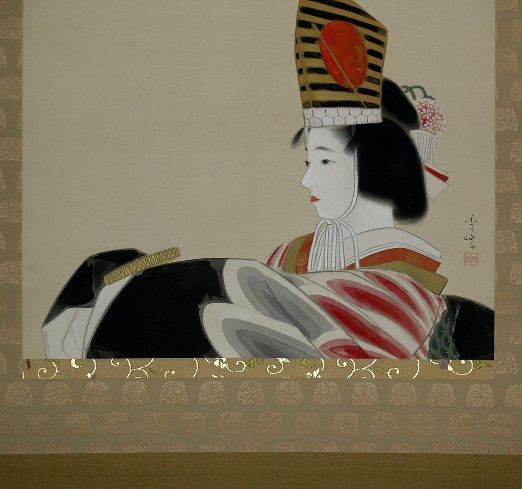 Rollbild von Yamakawa Shuhō (Kyoto 1898–1944 Kyoto), Feierlicher Sanbasō-Tanz eines Mädchens (Sammlung Genzō Hattori), Foto: Alexandra Matzner.
