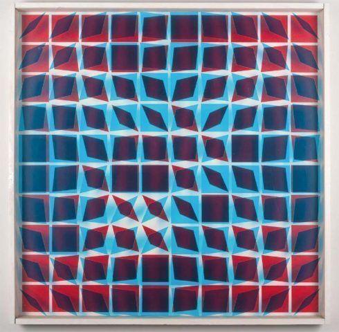 Helga Philipp, Kinetisches Objekt, 1966–1968, Folie, Glas, Siebdruck, Holz 115 × 115 cm, Nachlass Helga Philipp und Galerie Hubert Winter, Wien, Foto: © David Auner.