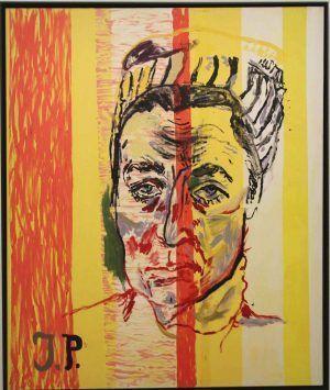 "Martin Kippenberger, Ohne Titel (aus der Serie Jacqueline: The Paintings Pablo Picasso Counldn't Paint Anymore) 1996, Ausstellungsansicht Bank Austria Kunstforum ""Martin Kippenberger. XYZ"" © Estate of Martin Kippenberger, Galerie Gisela Capitain, Cologne, Foto: Alexandra Matzner, Wien"