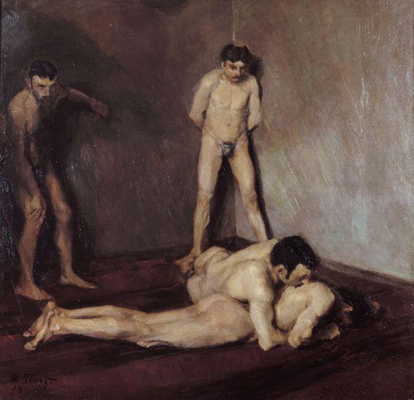 Max Slevogt, Ringerschule, 1893, Öl auf Leinwand, 137 x 140 cm , Max Slevogt-Galerie, Schloss Villa Ludwigshöhe, Inv. SL 50 © Max Slevogt-Galerie, GDKE Rheinland-Pfalz.