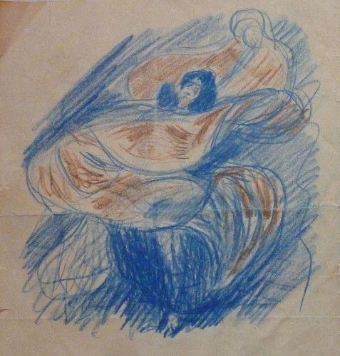 Max Slevogt, Bewegungsstudie einer Schleiertänzerin (Loïe Fuller ?), 1895, Buntstift in Blau und Braun auf Papier, 209 x 331 mm , Slevogt-Archiv/Grafischer Nachlass © Slevogt-Archiv/Grafischer Nachlass, Landesmuseum Mainz – GDKE Rheinland-Pfalz (Foto: Uta Süße-Krause).
