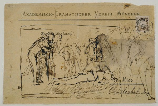 Max Slevogt, Früher Entwurf zur Ringerschule, 1893, Feder auf Papier, 160 x 240 mm , Auf einem Briefumschlag mit Stempel vom 27. Februar 1893 , Slevogt-Archiv/Grafischer Nachlass © Max Slevogt-Galerie, GDKE Rheinland-Pfalz.