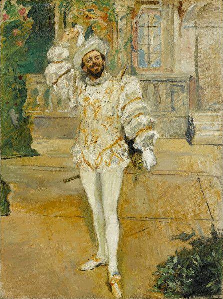 Max Slevogt, Das Champagnerlied/Der »Weiße d'Andrade«, 1902, Öl auf Leinwand, 215 x 160 cm , Staatsgalerie Stuttgart, Inv. 1123 © Staatsgalerie Stuttgart.