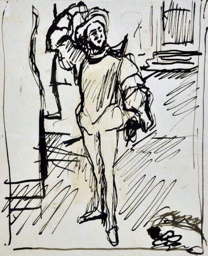 Max Slevogt, Skizze zur »Champagnerarie« III, 1902, Feder auf Papier, 190 x 154 mm , Slevogt-Archiv/Grafischer Nachlass © Slevogt-Archiv/Grafischer Nachlass, Landesmuseum Mainz – GDKE Rheinland-Pfalz (Foto: Ursula Rudischer).