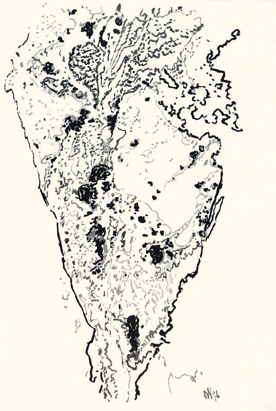 Max Weiler, Felsspalte, 1976, Pinsel in Tusche auf Papier © Yvonne Weiler.