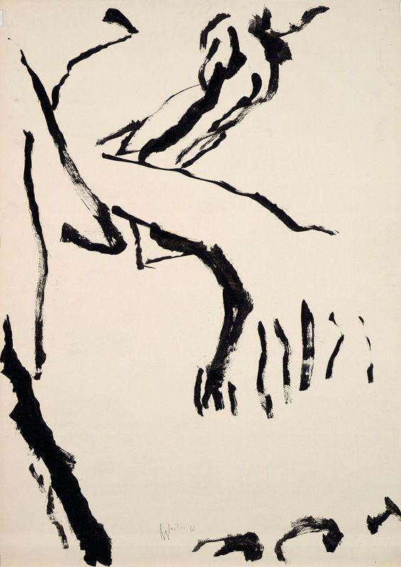 Max Weiler, Innen-Außen, 1961, Pinsel in Tusche auf Papier, Albertina, Wien © Yvonne Weiler.