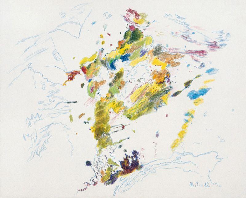 Max Weiler, Kunst ist Natur. Windbaum, 1982, Bleistift auf handgeschöpftem Papier © Yvonne Weiler.