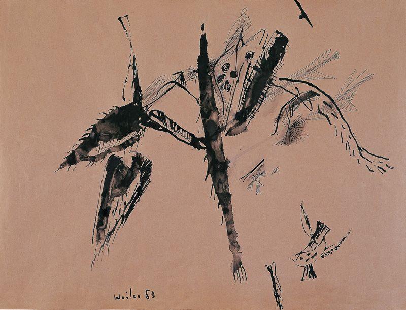 Max Weiler, Naturformen VI, 1953, Pinsel und Feder in Tusche auf Papier, KR Dr. Hans Klocker und Dr. Wolfgang Klocker-Stiftung © Yvonne Weiler.