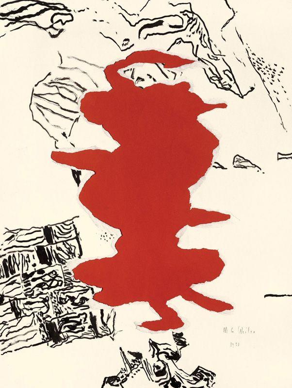 Max Weiler, Verwandlungen, ausgerissen auf rotem Papier, 1957, Pinsel in Tusche auf Papier, unterlegt mit rotem Naturpapier © Yvonne Weiler.