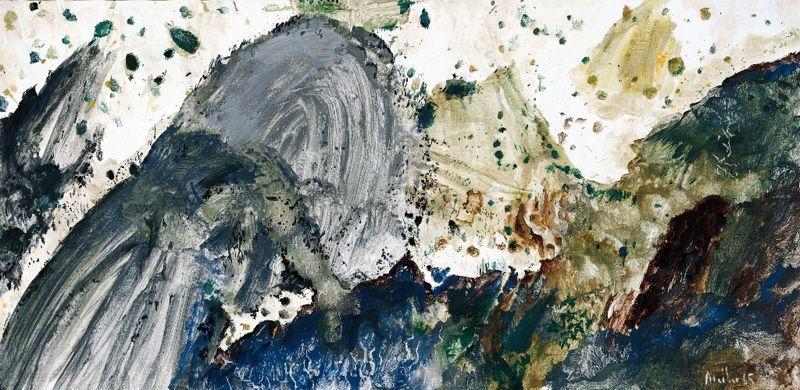 Max Weiler: Wie eine Landschaft, die grauen Berge, 1965, Eitempera auf Leinwand, 96 x 196 cm © Yvonne Weiler.