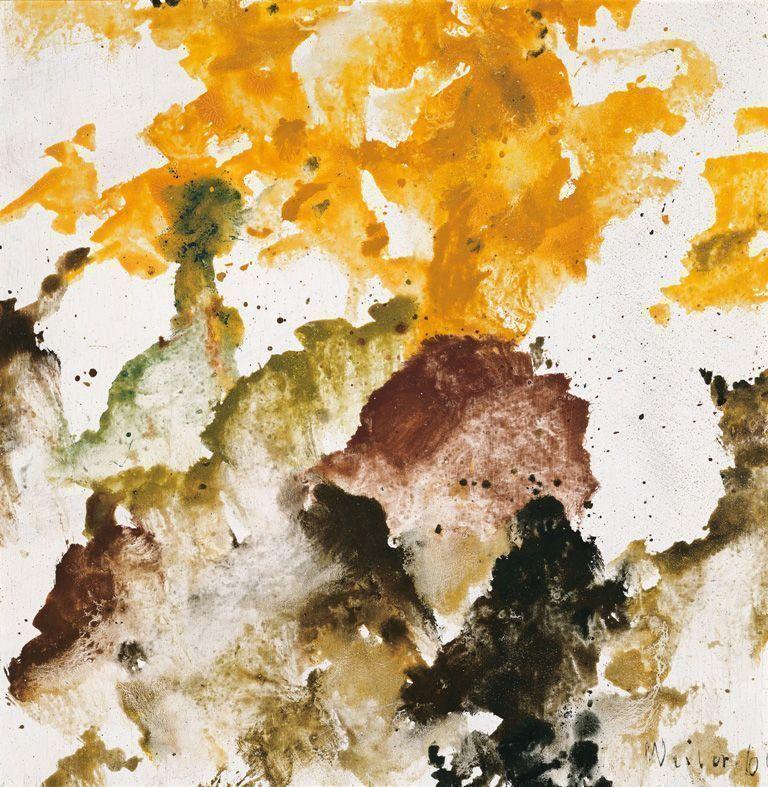 Max Weiler, Herbstberge, 1964, Eitempera auf Leinwand, 41 x 41 cm (Albertina, Wien – Sammlung Batliner) © Yvonne Weiler.