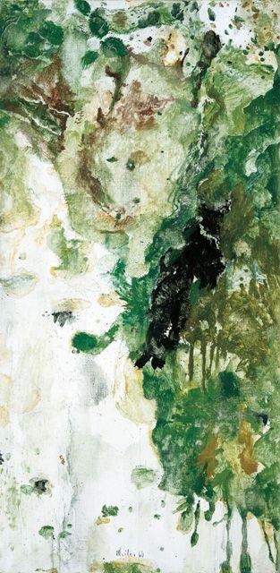Max Weiler, Wie eine Landschaft, Nässe, Moos und Gräser, 1964, Eitempera auf Leinwand, 196,5 x 96 cm (Gemäldegalerie der Akademie der bildenden Künste Wien) © Yvonne Weiler.