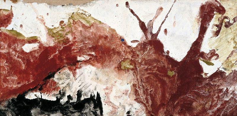 Max Weiler, Wie eine Landschaft, rostroter Berg, 1963, Eitempera auf Leinwand, 96 x 195 cm (Sammlung Essl Inv. Nr. 2769) Foto: Franz Schachinger © Yvonne Weiler.